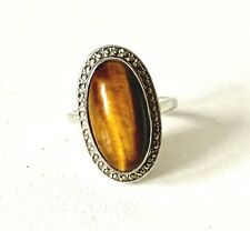 Vintage 60/70s Sterling Silver TIGERS EYE & MARCASITE Statement Ring : UK: M