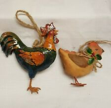 Small Chick and Rooster figurine Ornament - Metal feet?