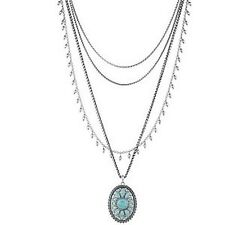 LUCKY BRAND TURQUOISE NATIVES TRIBAL LAYER NECKLACE NWT