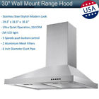 """30"""" Wall Mount Range Hood Stainless Steel LED Mesh Filters Kitchen Stove Vented photo"""