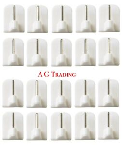 20 X Stick On Curtain Wire Hooks UPVC Frame Self Adhesive Net Rail Rod Pin White