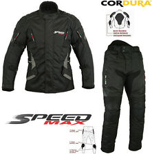 BLACK SPEED MAX MENS CE ARMOUR MOTORBIKE/MOTORCYCLE TEXTILE JACKET TROUSERS SUIT