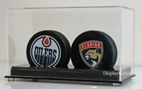 2 Hockey Puck Holder Display Case Stand, UV Protection, AC-HP02