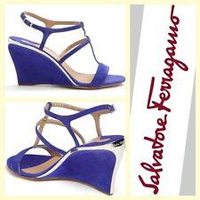 Salvatore Ferragamo $595 'Pakuna' blue suede wedge heel t-strap sandals~8