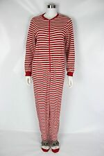 Nick & Nora Adult Small Red White Striped Sock Monkey Footed One-Piece Pajamas
