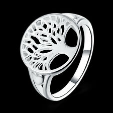 Wholesale 925 Silver Life Tree Round Ring Women Jewelry Christmas Gift Size 8