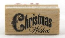 Christmas Wishes Wood Mounted Rubber Stamp Hot Fudge Studios NEW holiday card