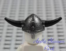 NEW Lego Castle Minifig BLACK VIKING HELMET - Speckled Silver Hat w/Spike Horns