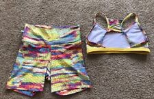 TODA BOA Activewear Made In Brazil Hot Yoga Shorts Bra Top Set Colorful Pattern