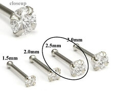 950 Platinum 2.5mm (CZ) STONE Jewel Nose Bone 20g