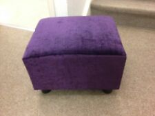 Footstool / Small Box Stool / Pouffe / Gift / purple crush Velvet British Made