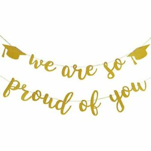 Graduation Banner Decoration 2021 Gold Glittery  Proud of  Party Decoration