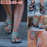Women Flat Summer Sandal Flip-Flop Thong Slipper Cross Toe Sandal Casual Shoes