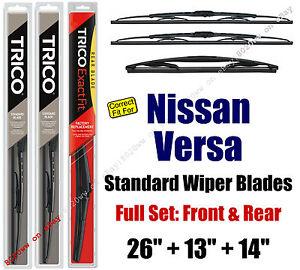 Wiper Blades 3-Pk Front Rear Standard - fit 2007-2012 Nissan Versa 30260/130/14D