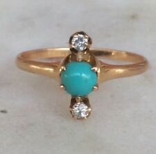 antique victorian diamond turquoise ring 082717100