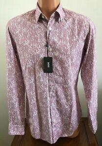Hugo Boss Mens Long Sleeve Casual or Dress Shirt Pink Print Size Small S