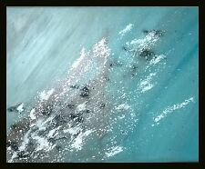 Teal Brown silver Modern Hand Painted Abstract Canvas Painting Original Art