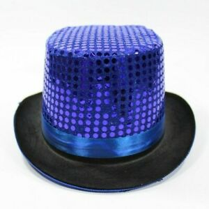 UK Men Women Sequin Top Hat Party Magician Show Fancy Dress Costume Glitter Hats