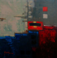 """Painting Original Acrylic on Canvas Abstract Art.""""Station"""" by Hunoz 20"""" x 20"""""""