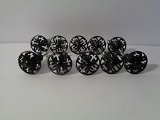 very pretty set of 10 black die cut (cut out) cabinet hardware pulls with screws