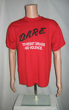 Red DARE Resist Drugs And Violence T-Shirt L 2000s Punk Metal Straight Edge