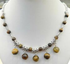 """6-10mm Lovely Natural Tiger's Eye Round Beads Pendants Tibet Silver Necklace 18"""""""
