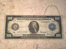 1914 $100 FEDERAL RESERVE NOTE LARGE SIZE FR# 1100 Burke/McAdoo VF NICE ORIGINAL