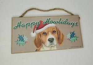 "Happy Howlidays Beagle Christmas Holiday Dog Sign Great Gift 5""x10"" Plaque USA"