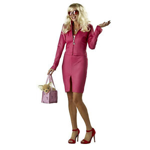 Women's Elle Woods Legally Blonde Cosplay Costume Pink Dress Bag Bruiser Dog
