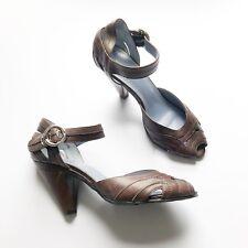 HUSH PUPPIES Ladies Brown Leather Sandals UK7 EU40 Shoes Heels Comfort PeepToe