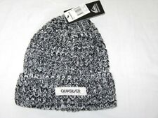 BNWT - QUIKSILVER Chunky Cable Knit  Ribbed Beanie Hat - Black Grey