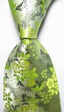 New Classic Floral Light Green Black JACQUARD WOVEN 100% Silk Men's Tie Necktie