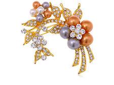 of Flowers Leaves Pin Brooch Jewelry Gold Rhinestones Faux Pearl Cluster Bundle