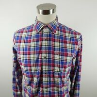 Tommy Hilfiger Mens Custom Fit LS Button Down Red White Blue Plaid Dress Shirt M