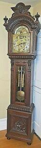 RARE LARGE ORNATE RJ HORNER GRANDFATHER / TALL CASE CLOCK CIRCA 1890-1910