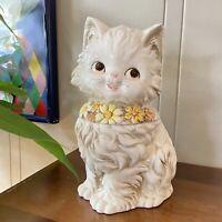 Vintage Josefs White Kitten Cat Cookie Jar Kitsch Cute Flowers Love