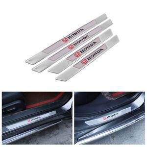 4PCS HONDA Silver Carbon Fiber Car Door Scuff Sill Cover Panel Step Protector