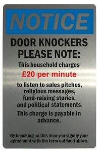 NOTICE DOOR KNOCKERS Funny Metal Aluminium Plaque Sign For House Office 4 Sizes