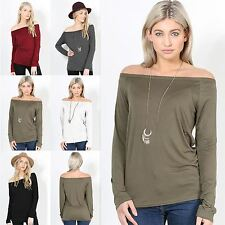 Womens Baggy Oversized T Shirt Ladies Drop Off The Shoulder Bardot Top Plus Size