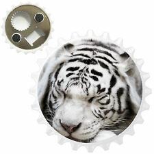 White Tiger Sleeping Bottle Opener Fridge Magnet