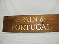 VINTAGE WOODEN WINE COUNTRY REGION SPAIN PORTUGAL SIGN DISPLAY BAR / RESTAURANT
