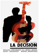 Movie Poster for film La Decision.Bass jazz music player.Room wall art decor