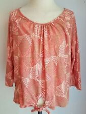 Lucky Brand L XL Boho Orange Knit Top Linen Viscose 3/4 Sleeve Euc Lkn