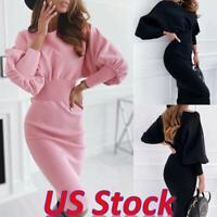 US Women Bodycon Jumper Sweater Knitted Midi Dress Party Long Sleeve Wrap Dress