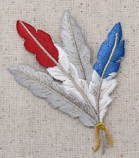 Feathers - Southwest Indian Red/White/Blue - Iron On Embroidered Applique Patch