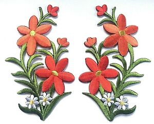 FLOWER PATCH X 2, RED with White Daisies, matching pair *SEW-ON/IRON-ON*