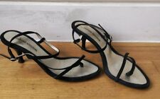 COSTUME NATIONAL SHOES EU36.5 UK3.5 strappy kitten heel black suede leather sole