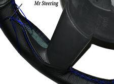 Per Vauxhall Zafira A 99-05 VERA PELLE NERA VOLANTE copertura blu cuciture