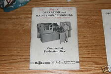 DoAll Continental Production Saw Manual