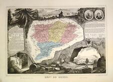 1854 Carte de Doubs Besancon Franche Comté Pontarlier Levasseur Kolorierte Karte